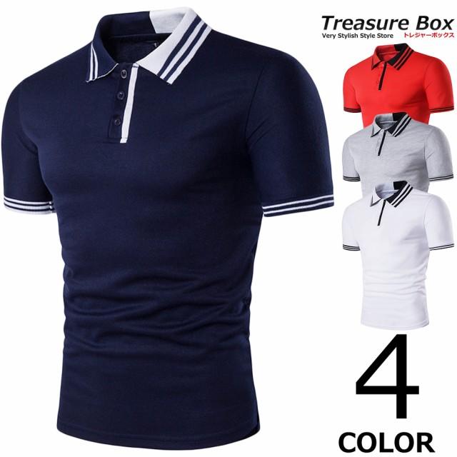 ゴルフウェア メンズ ポロシャツ 半袖 シンプル
