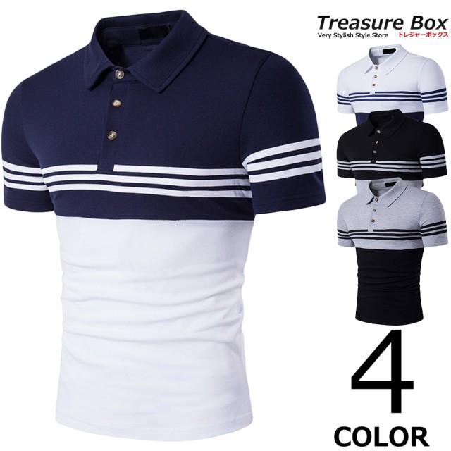 ゴルフウェア メンズ ポロシャツ 半袖 スリーライ...