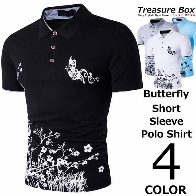 ゴルフウェア メンズ ポロシャツ 半袖 バタフライ...