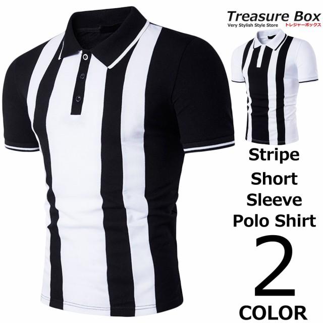 ゴルフウェア メンズ ポロシャツ 半袖 ストライプ...