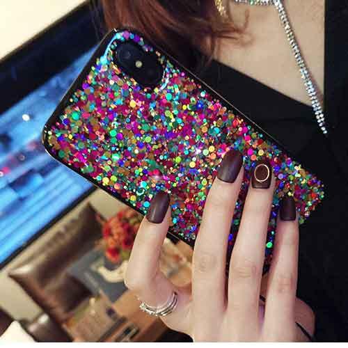 キラキラカラフルスパンコールスマホiPhoneケース...