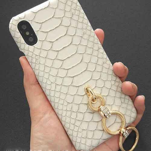 クロコ風リングホワイトきれいなiPhoneケース   i...