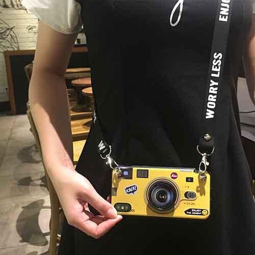 Galaxyカメラ型黄色イエローストラップ付スマホケ...