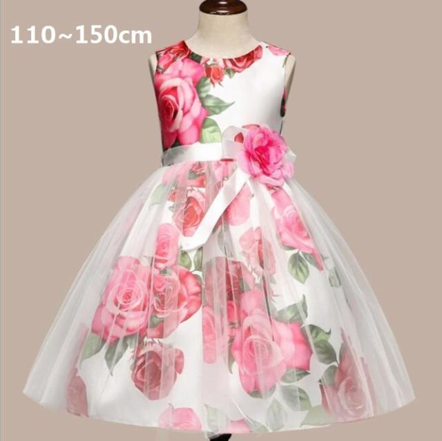 9ec6facc053dc 子供ドレス プリント花柄 ノースリーブ おしゃれ 子供服 ワンピース ドレス チュール きれいめ 女の子 ジュニア