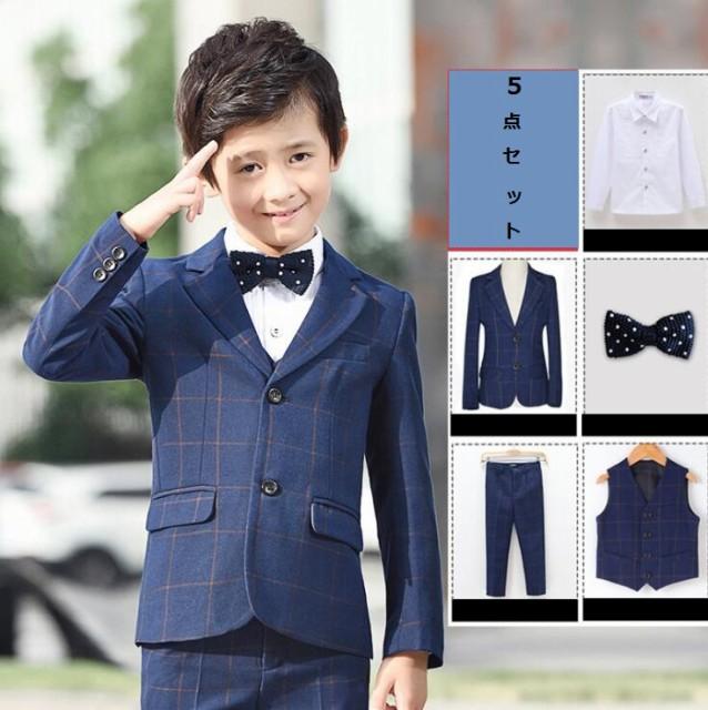 スーツ フォーマル 上品 タキシード 男の子 チェ...