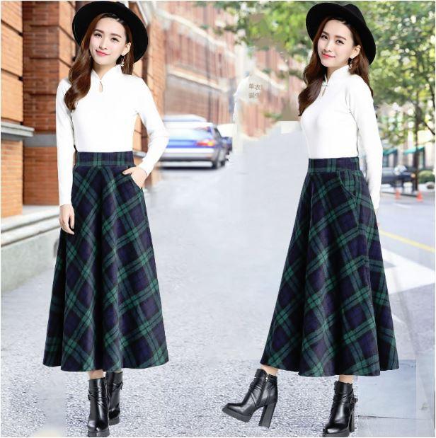チェックスカート ロングスカート フレアスカート...