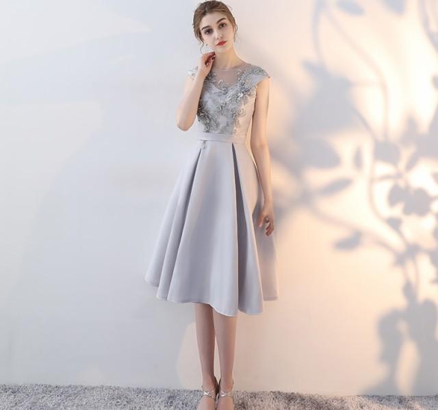 12d193ba1f3b2 ドレス パーティードレス ワンピース 袖なし 膝丈 グレー ノースリーブ お呼ばれドレス 結婚式 二次会 お呼ばれ