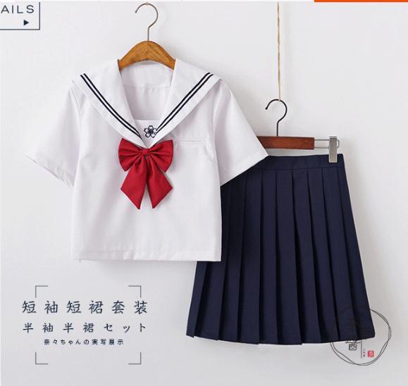 桜刺繍 コスプセーラー服半袖J正統K制服コスプレ...