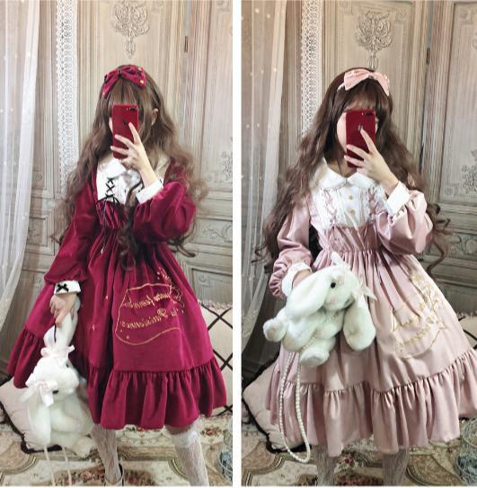 秋冬宮廷風きらきらゴスロリワンピース ドレス ロ...