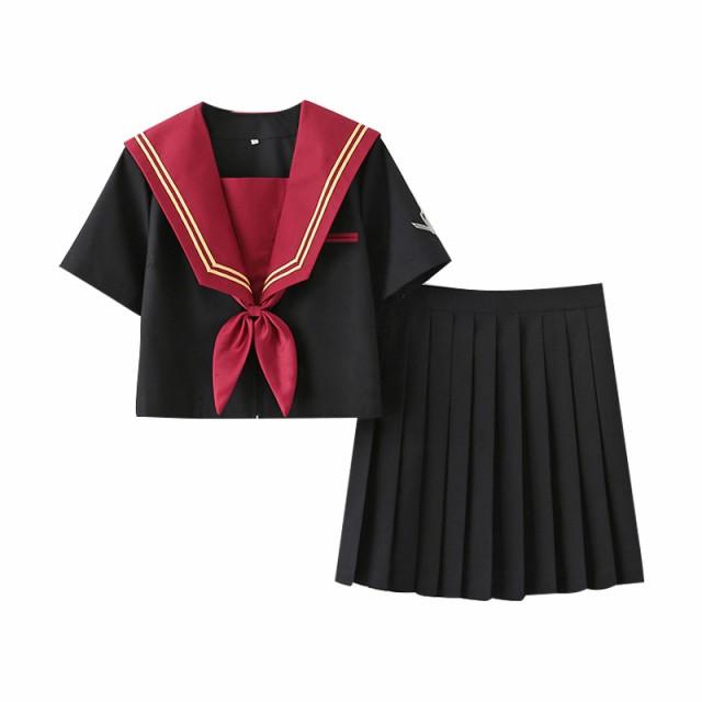 JK 赤黒セーラー服長袖スーツコスプレ制服ハロウ...