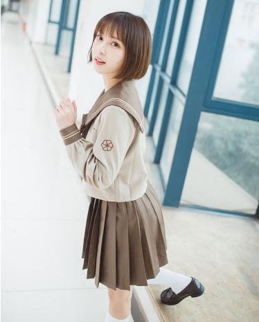 春秋コスプセーラー服長袖 関東ミルクティー系正...