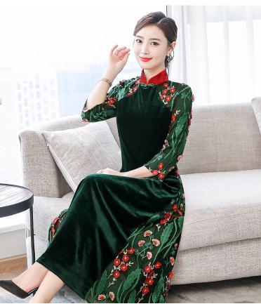 5b25938ce8e35 新作レディース 日常春秋 ワンピースドレス 中国風 チャイナ風 ナチュラル エス 刺繍ドレス結婚式