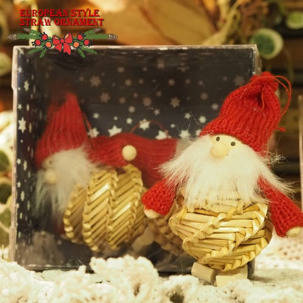 クリスマス ストロー 木製&コットンオーナメントセット サンタ2個セット ~ 落ち着いた雰囲気のクリスマスを演出する、ヨーロピア