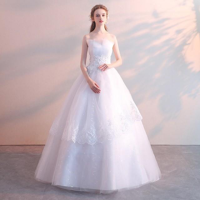 激安 ウェディングドレス ホワイト ベアトップ ビ...