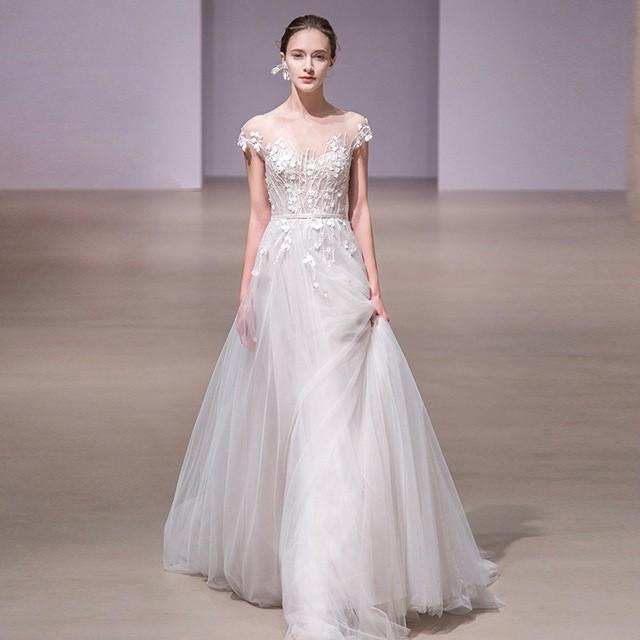 ウェディングドレス ホワイト Aライン 結婚式 2タ...