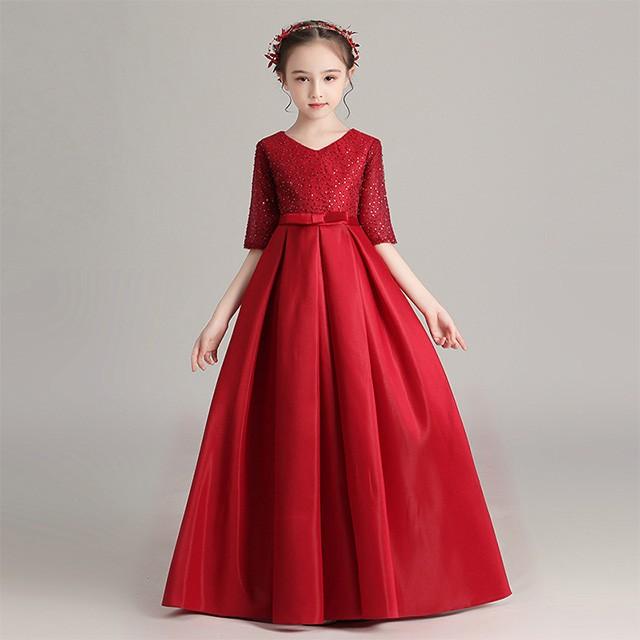 子供 ロングドレス 150 発表会ドレス 赤 女児ドレ...