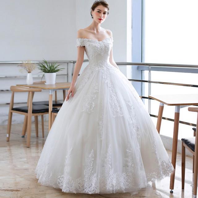 ウェディングドレス オフショル ホワイトドレス A...