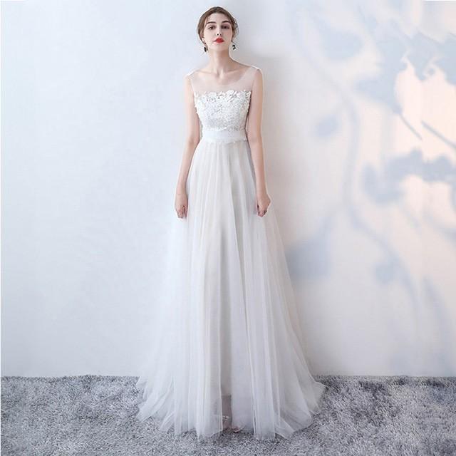 ウエディングドレス ロング丈 結婚式ドレス ノー...