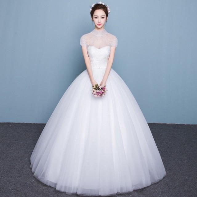 ウェディングドレス 袖あり ホワイトドレス Aライ...