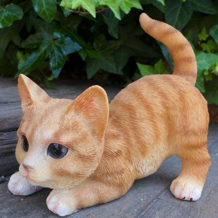猫の置物 茶トラの子猫 伏せ 6479HT キャッ...