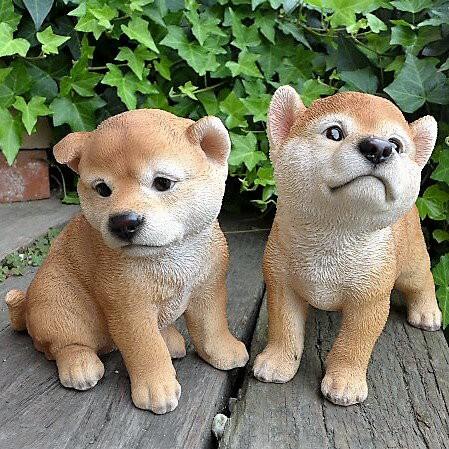 犬の置物 秋田犬2匹セット 子犬 N13392 い...