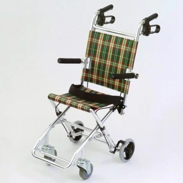 介助式小型折りたたみ車椅子 チビポン/チェックダ...
