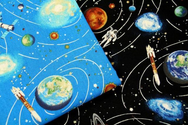 生地 1m単位 綿麻キャンバス 宇宙と惑星 HSK324-1...