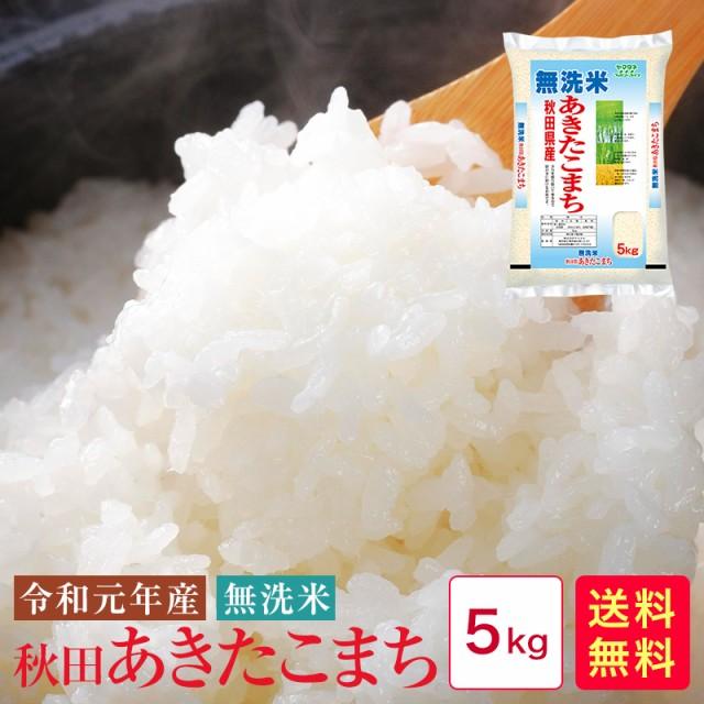 米 5kg 送料無料 無洗米 令和元年産 秋田あきたこ...