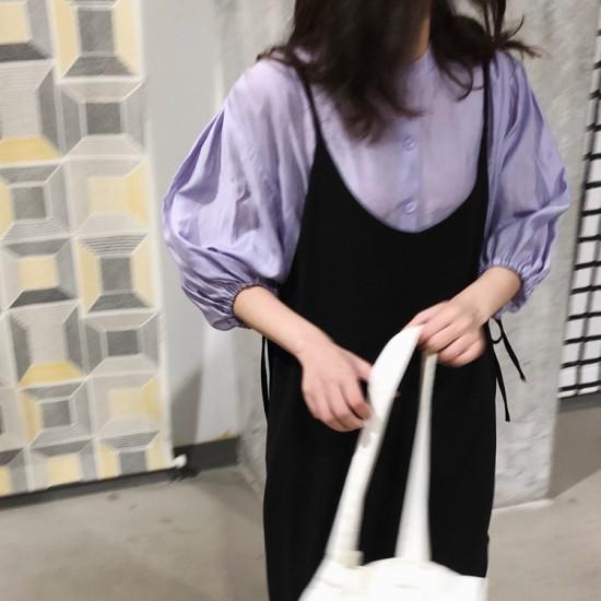 ふんわりボリューム袖☆7分袖パフスリーブシャツ...