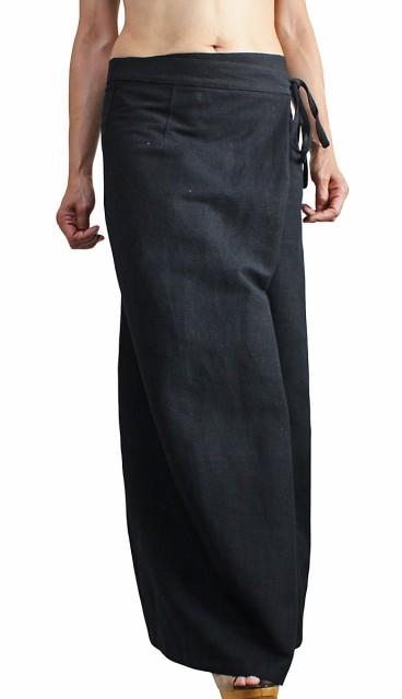 ジョムトン手織り綿サロン風ワイドパンツ 黒(PFS...