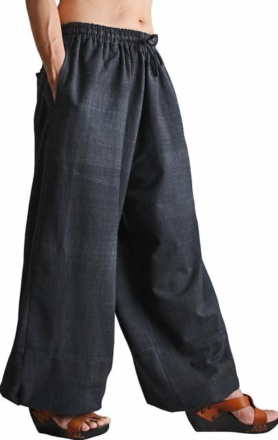 ジョムトン手織り綿のワイドパンツ 墨黒(PFS-042...
