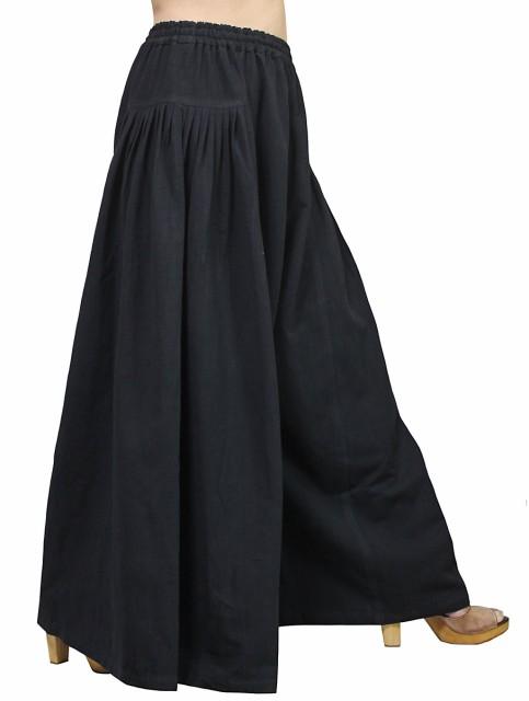 ジョムトン手織綿のデザインワイドパンツ 黒(PFS...