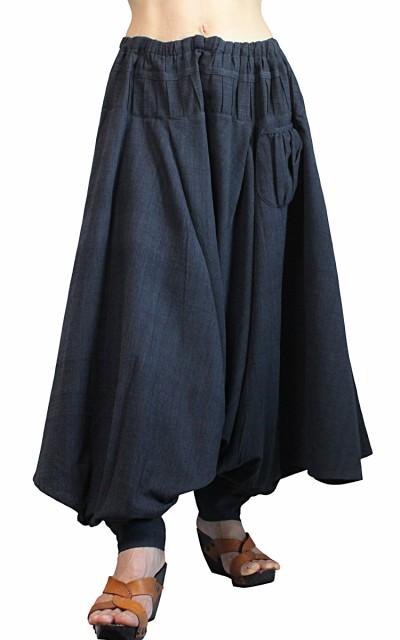 ジョムトン手織綿の埴輪型パンツ 墨黒(PFS-054-0...