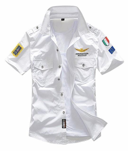 ミリタリーシャツ メンズ 半袖 ワッペン シャツ