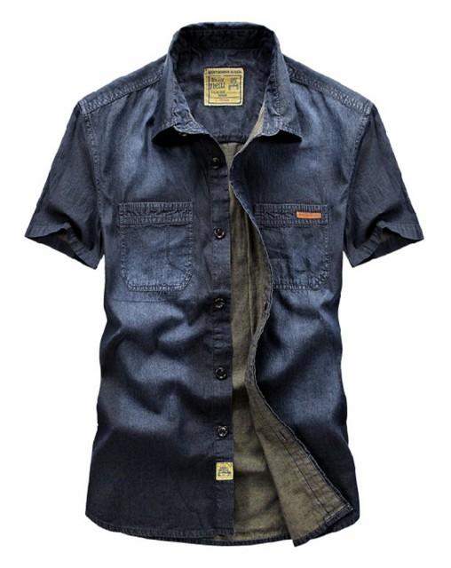 半袖シャツ メンズ デニムシャツ 色落ち 加工 薄...
