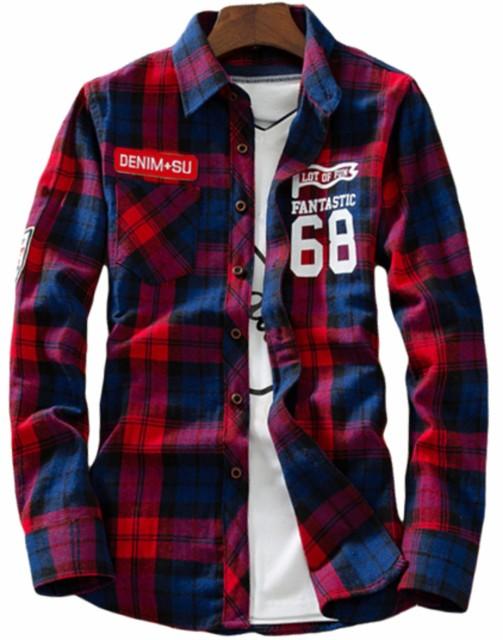 長袖シャツ メンズ チェックシャツ 68 数字ロゴ ...