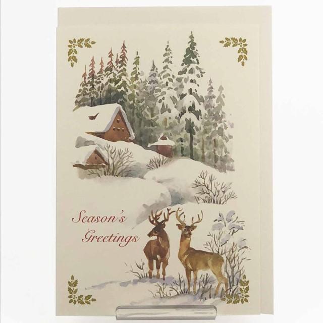クラシッククリスマスカード 山小屋