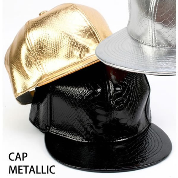 ダンス衣装 メタリック 型押し キャップ 帽子 ブ...