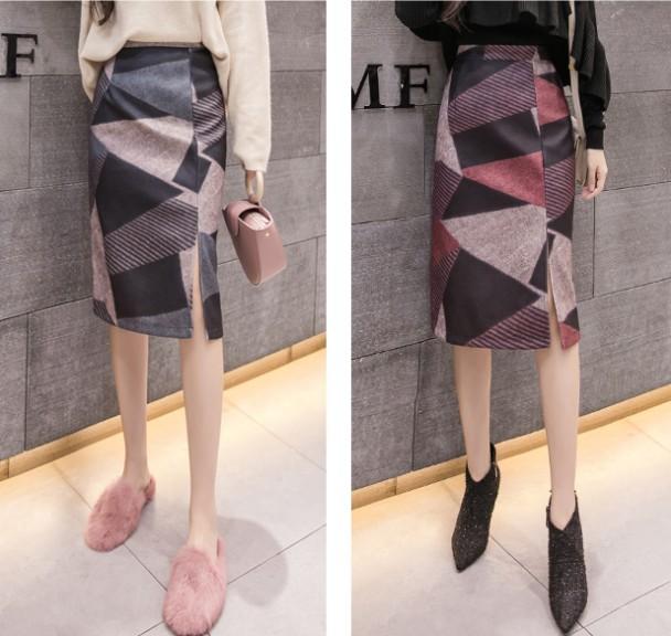 タイトスカート 大きいサイズ スリット 幾何学...