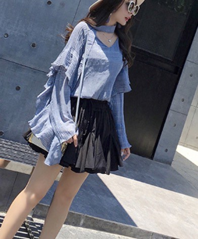 セレブ系爽やかフリンジシャツ ik-0027