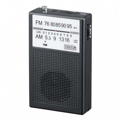YAZAWA AM/FMポケット ラジオ ブラック 防災 RD21...