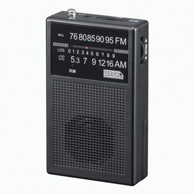 YAZAWA 長寿命AM/FMポケット ラジオ ブラック 防...