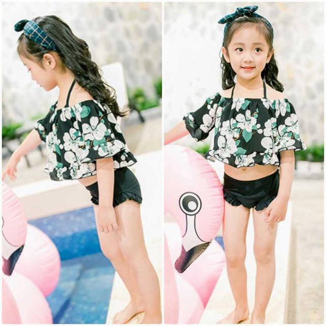 キッズ ジュニア 女の子 子供 水着 三角ビキニ トップス 日焼け防止 花柄 ブラック S M L XL 送料無料