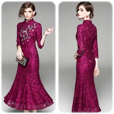 ゴージャス刺繍 エレガントロングドレス