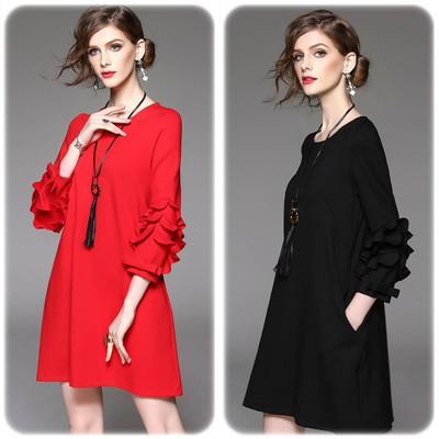 シンプルAライン七分袖ルーズフィットドレス