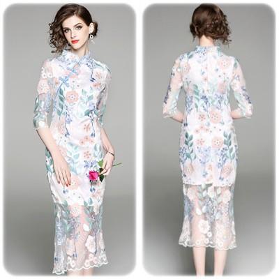 優雅な刺繍デザイン メッシュサマードレス