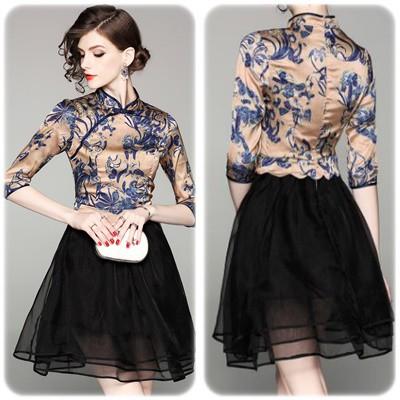 レトロフローラル メッシュスカートドレス