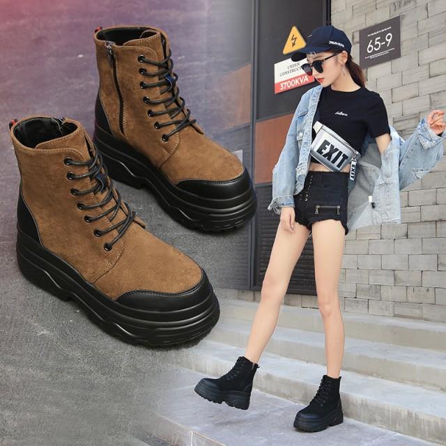 ブーツ ショートブーツ 大きいサイズ 7cm厚底 ス...