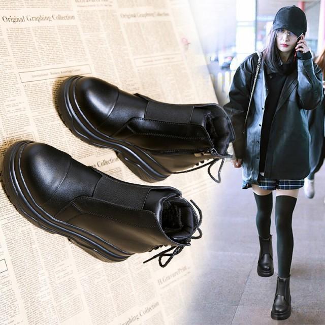 ブーツ ショートブーツ 大きいサイズ 6.5cm厚底 ...