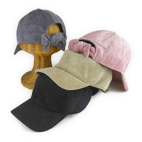 コーデュロイバックリボンローキャップ ヤング帽...
